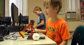 Student at RCCDSB working on WEDO robotic kicker