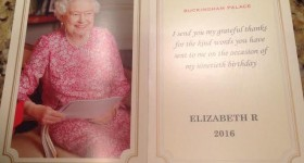 A photo and Thank you card from Queen Elizabeth in response to students wishing her happy birthday