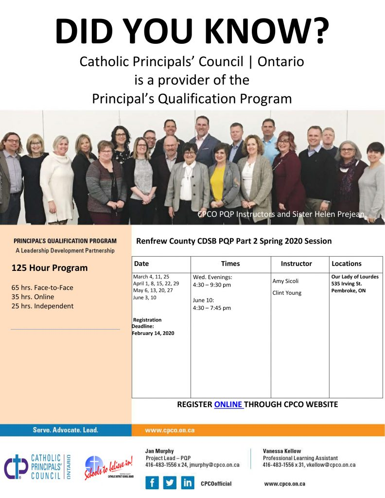 Renfrew County CDSB Spring 2020 PQP Flyer